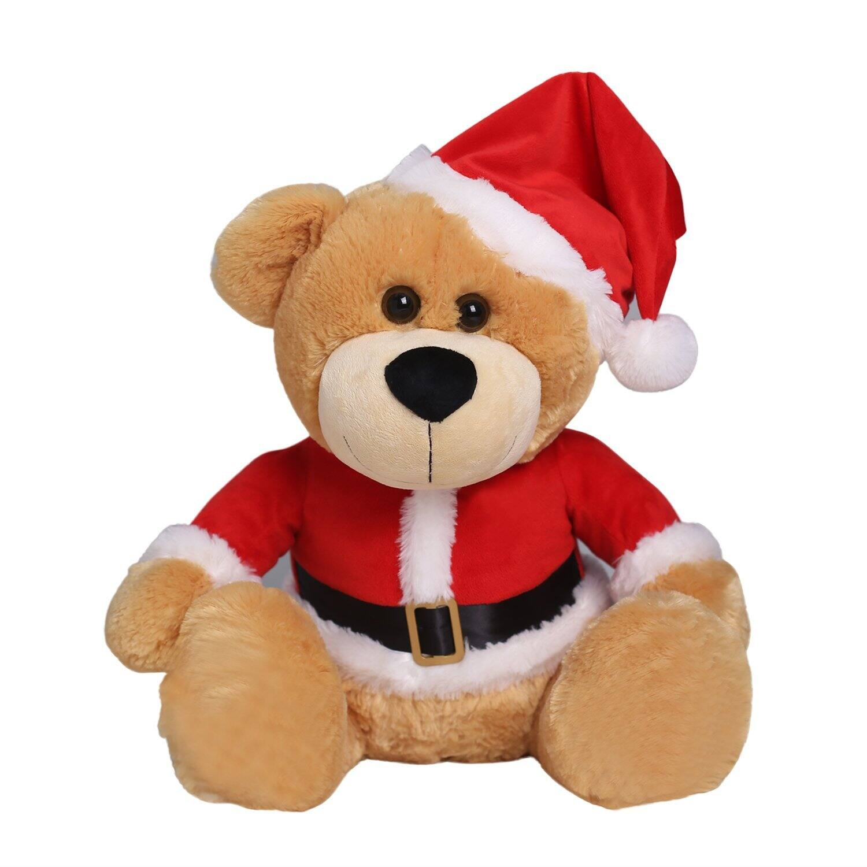 "18"" Stuffed Teddy Bear Wearing Christmas Cap - White or Tan $9.09"