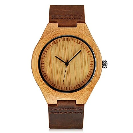 Mens Wooden Brown Cowhide Watch - Leather Strap with Box  @Amazon $16.05