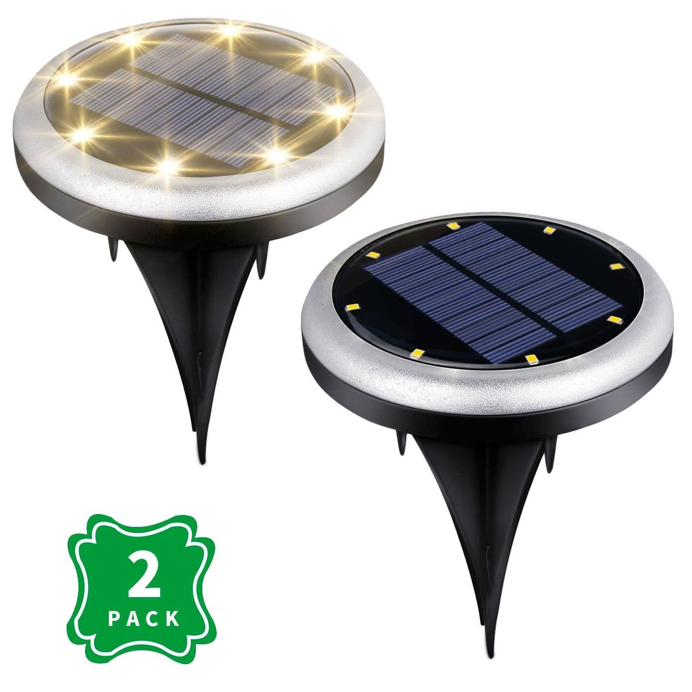 [2-Pack] 8 LED In-Ground Waterproof Solar Lights - Dark Sensing Auto On/Off @Amazon $16.79