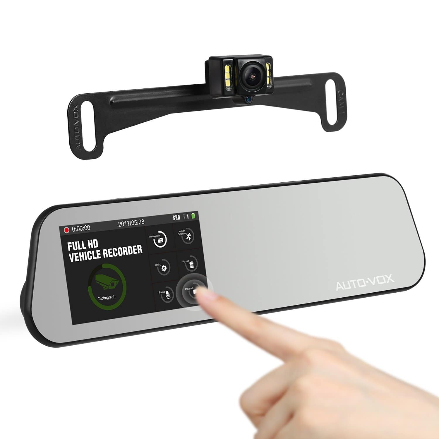 AUTO-VOX Touch Screen Mirror Dash Cam with Backup Camera for Parking Safely $76.99 AC FS w/Amazon Prime