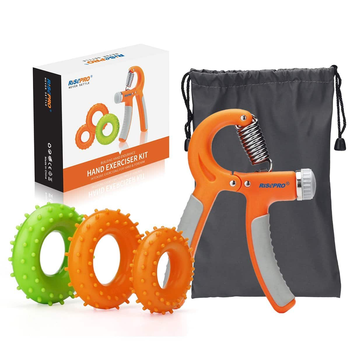 Hand Strengthener - Exerciser - Adjustable Resistance - Set of 4 with 3 grip rings @Amazon $5