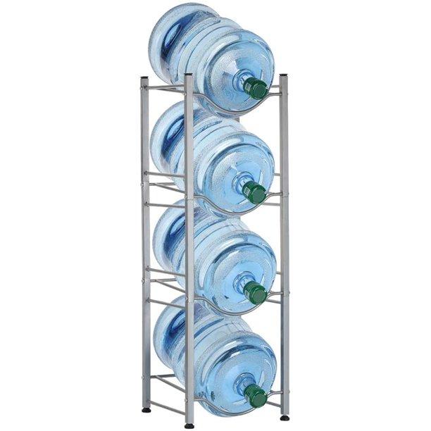5 Gallon Water Bottle Steel Storage Rack, 4 Tiers, Silver $35.97