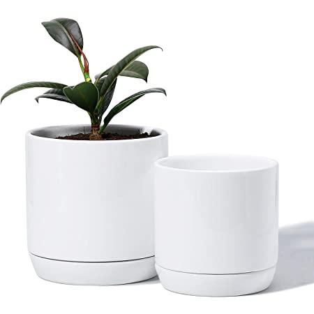 "Glazed Ceramic Plant Pots with Drainage Holes & Saucer (Set of 2 - 5.1 + 4.2"") $15.59"