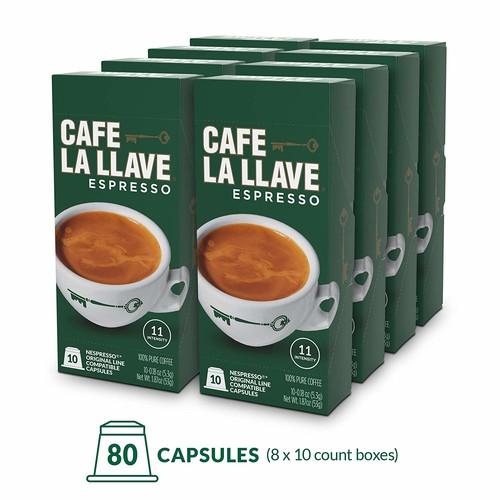 Café La Llave Espresso Capsules, Intensity 11-Recylable Coffee Pods (80 Count) S&S $23.83