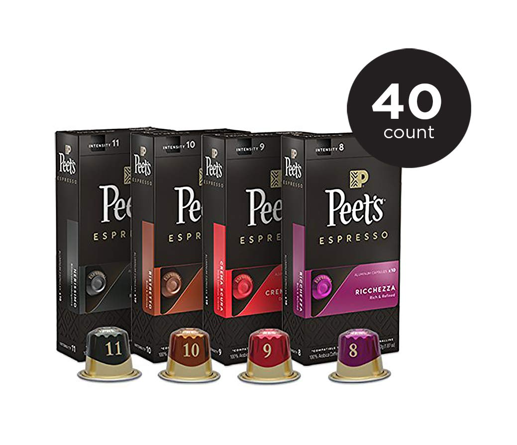 $11.25 Peet's Coffee Espresso Capsules Variety Pack, 40 Count, amazon warehouse deal
