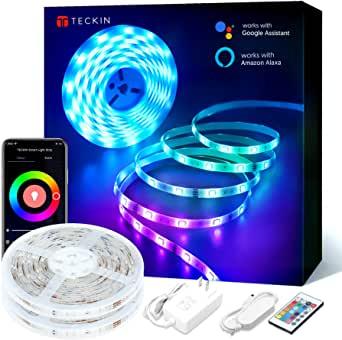 LED Strip Lights, TECKIN 32.8ft RGB Works with Alexa $14.99