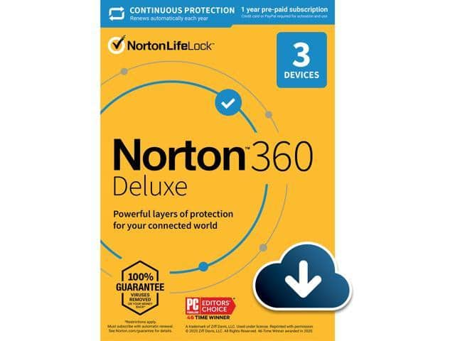 Norton 360 Deluxe - Antivirus software for 3 Devices with Auto Renewal - Includes VPN, PC Cloud Backup & Dark Web Monitoring powered by LifeLock [Download] $19.99