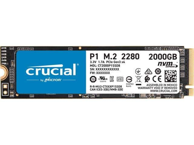 Crucial P1 2TB 3D NAND NVMe PCIe Internal SSD, up to 2000 MB/s - CT2000P1SSD8 $209.99