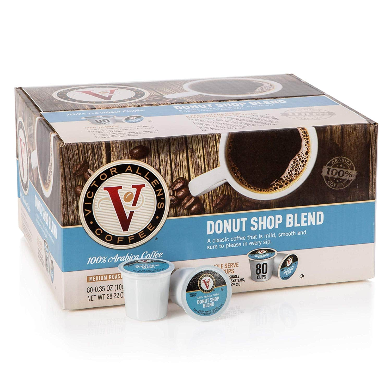 Donut Shop Blend, Victor Allen's Coffee Medium Roast Single Serve Coffee K-Cup Pods, 80 Count, Amazon w/ S&S $18.74