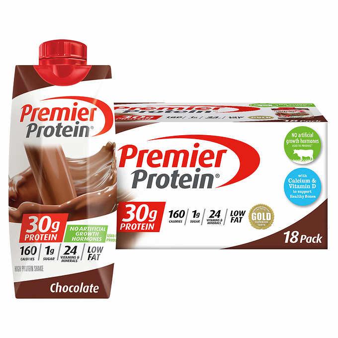 Premier Protein Shakes 11 fl. oz., 18-pack, Costco B&M $19.99