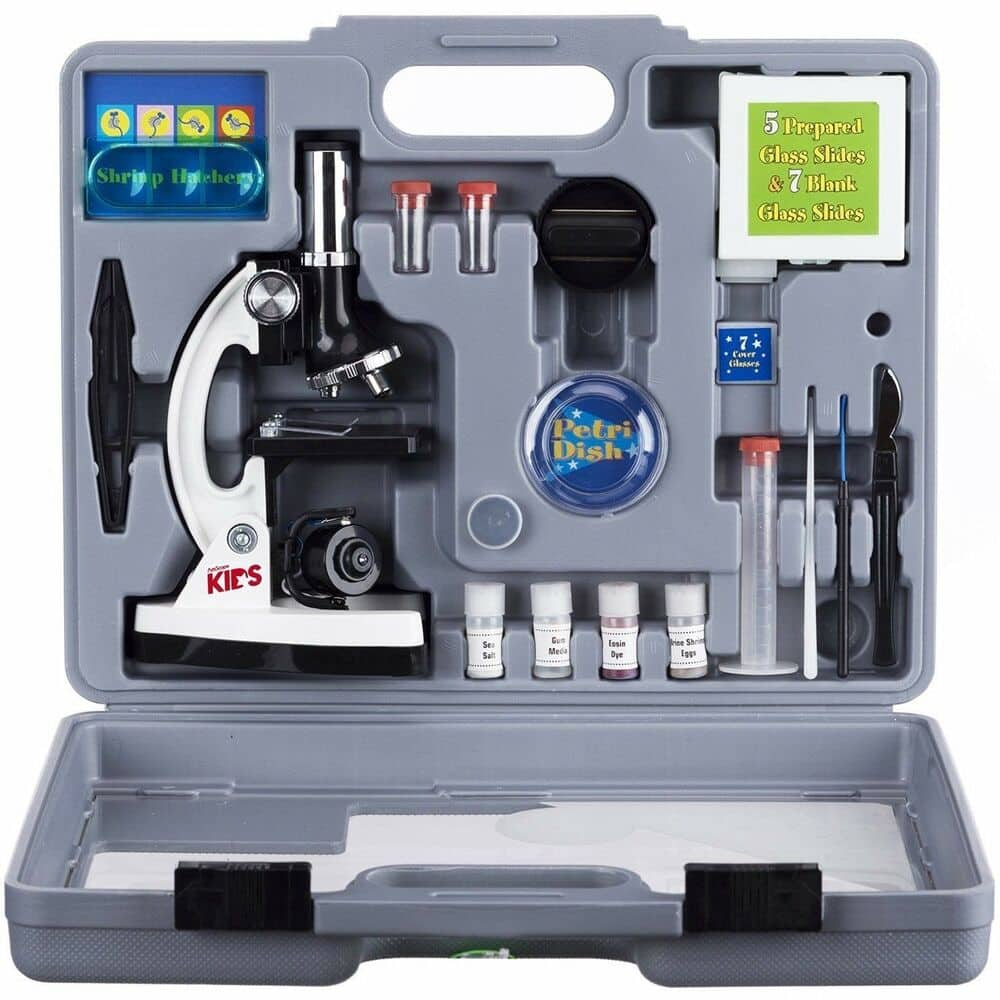 AmScope 52pc 120X-1200X Starter Compound Microscope Science Kit for Kids (White) $29.99