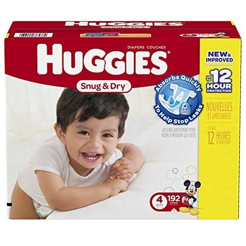 Huggies Snug and Dry Diapers, Size 4, Economy Plus Pack, 192 Count - $30.09 ($0.157 / diaper) or as low as $24.07 ($0.125 / diaper) PLUS other sizes