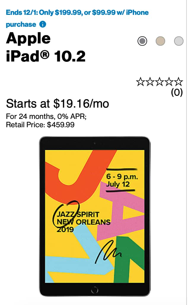 iPad  10.2 (Latest Model) $99 with iPhone Purchase at Verizon