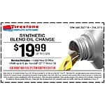 Firestone Synthetic Blend Oil Change for $19.99 (Expires 7/31)