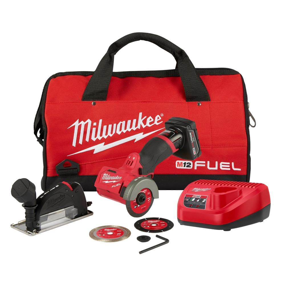 Milwaukee M12 FUEL 12-Volt 3 in. Lithium-Ion Brushless Cordless Cut Off Saw Kit with One 4.0 Ah Battery Charger and Bag - $113.80 at Home Depot
