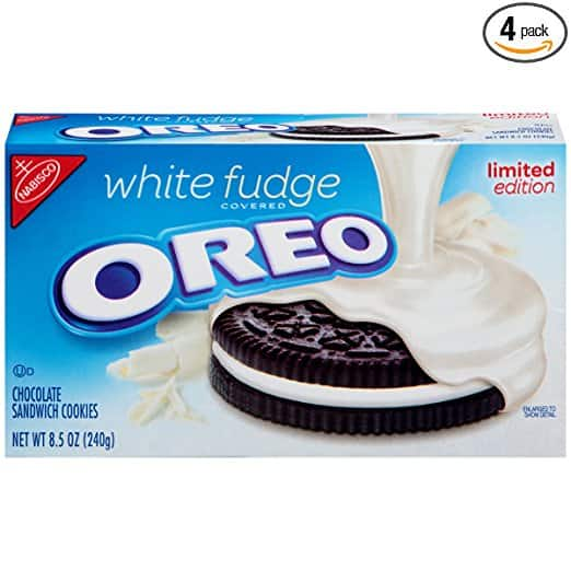 Oreo Limited Edition Sandwich Cookies, White Fudge Chocolate Covered, 8.5 Ounce (Pack of 4) - $9.16 @ Amazon.com w/25% off coupon