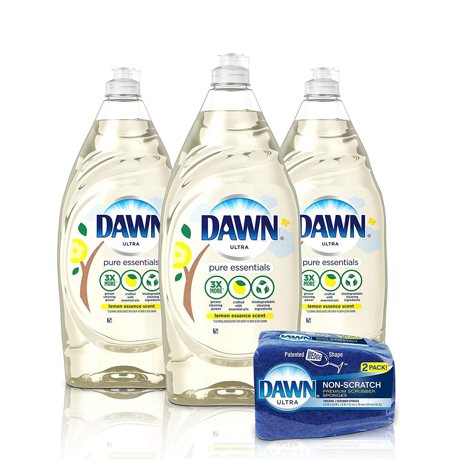 Dawn Pure Essentials Dishwashing Liquid Dish Soap (3x24oz) + Non-Scratch Sponge (2ct), Lemon Essence, 1 Set - $11.00 @ Amazon.com