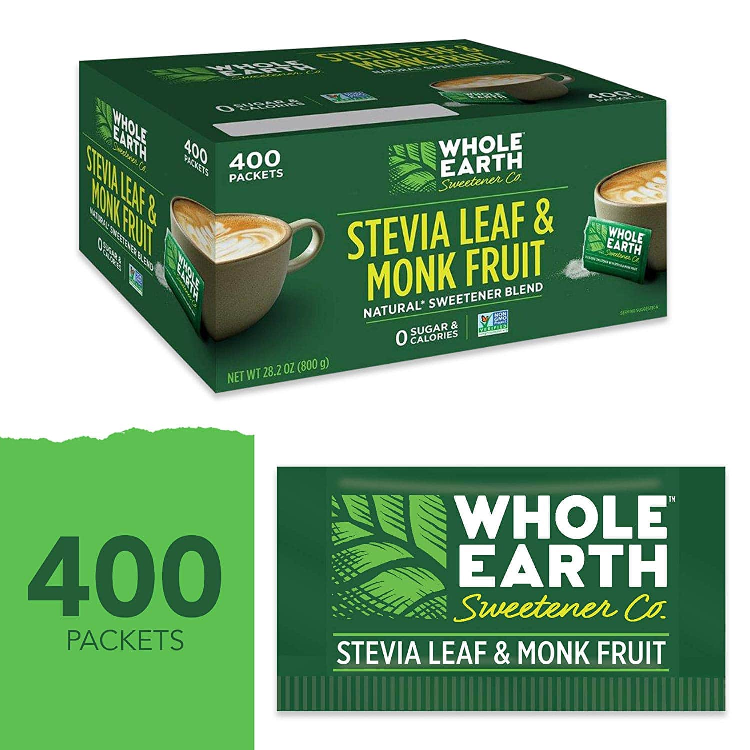 Whole Earth Sweetener Stevia Leaf & Monk Fruit Zero Calorie Sweetener, 400 Count Packets - $13.49 (or $12.82 w/ S&S) @ Amazon.com