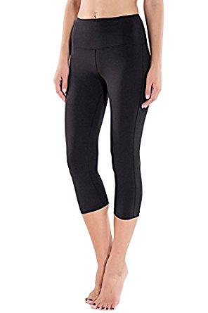 Houmous Women's High Waist Yoga Capri Leggings Tummy Control Inner Hidden Pocket $11.39 AC + (FS w/ PRIME)