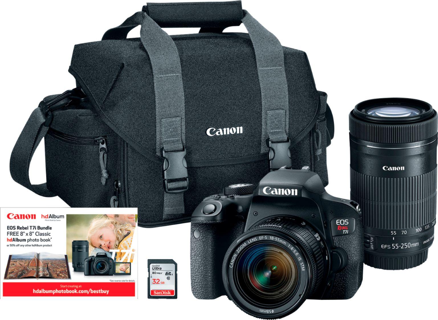 $699 Canon EOS Rebel T7i DSLR Two Lens Kit with 18-55mm and 55-250mm Lenses Black 1894C056 - Best Buy