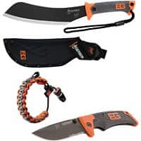 "Walmart Deal: Wal Mart has Gerber Bear Grylls 15"" Parang Machete + Scout Folding Knife + Survival Bracelet for $29 w/ free in-store pickup"