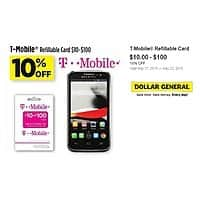 Dollar General Deal: T-mobile Refill Cards 10% Off at Dollar General thru 05/23 B&M YMMV