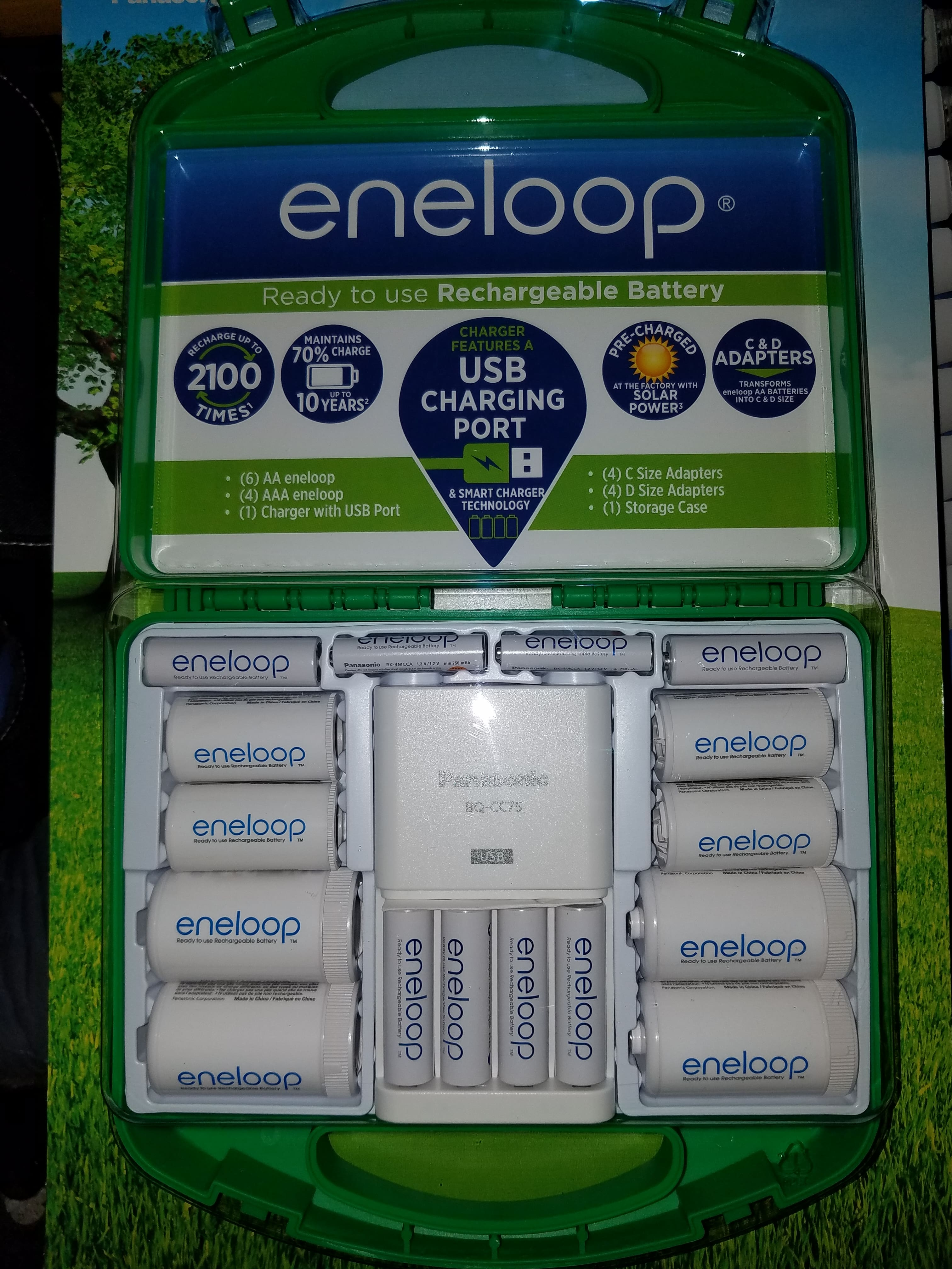 Eneloop Starter Pack Charger Aa Aaa C And D Adapters At Costco