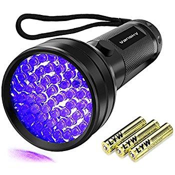 Black Light,51 LED UV Flashlight 3AA Batteries Included $6.99