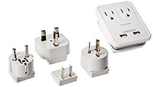 Poweradd Travel Power Adapter Kits - Dual 2.4A USB Ports + 2 Outlets Wall Charger with Worldwide Wall Plugs - $16.99 AC Free S/H with Prime
