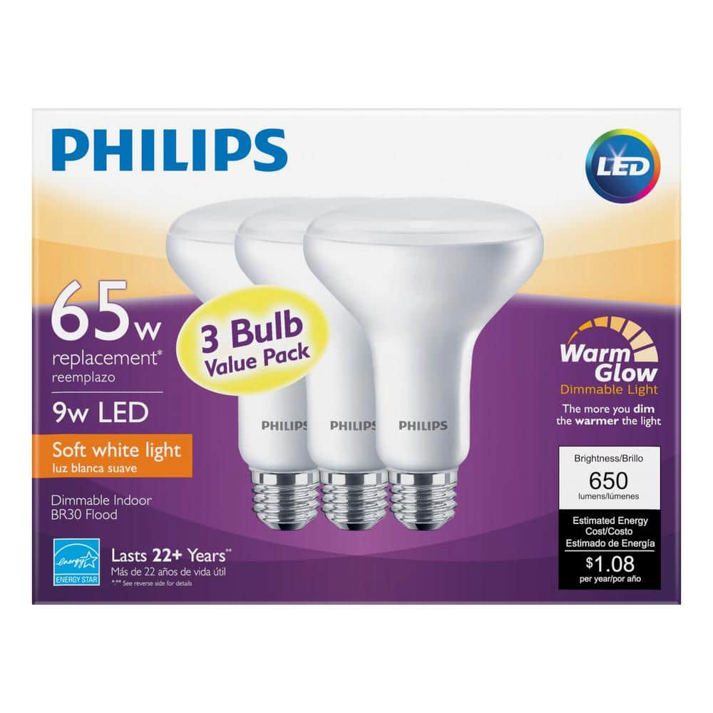 65W Equivalent Phillips Soft White with Warm Glow BR30 Dimmable LED Energy Star Light Bulb (3-Pack) $4.97 + Tax at Home Depot (Regional deal ComEd , National Grid)