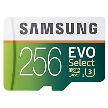 Samsung 256GB 100MB/s-90MB/s  (U3) MicroSDXC EVO Select Memory Card with Adapter (MB-ME256GA/AM) - $89.99 + Free Shipping.