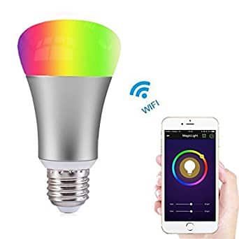 Dimmable Multicolored Color WiFi Smart A19 LED Light Bulb on sale with coupon code, final price is $16.89, Amazon