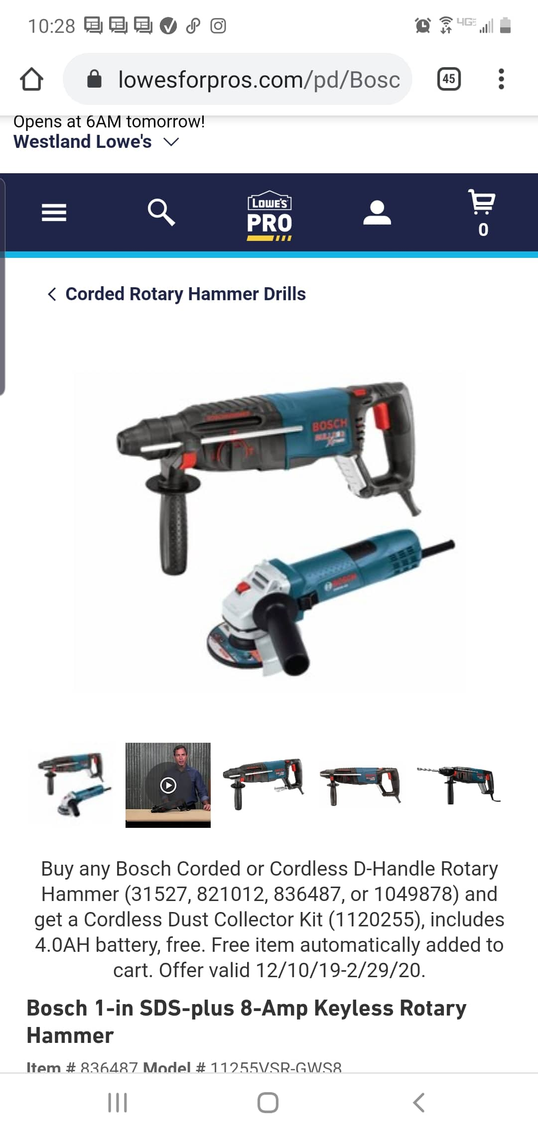 """Bosch SDS bulldog xtreme, 4.5"""" angle grinder AND free dust collector $109"""