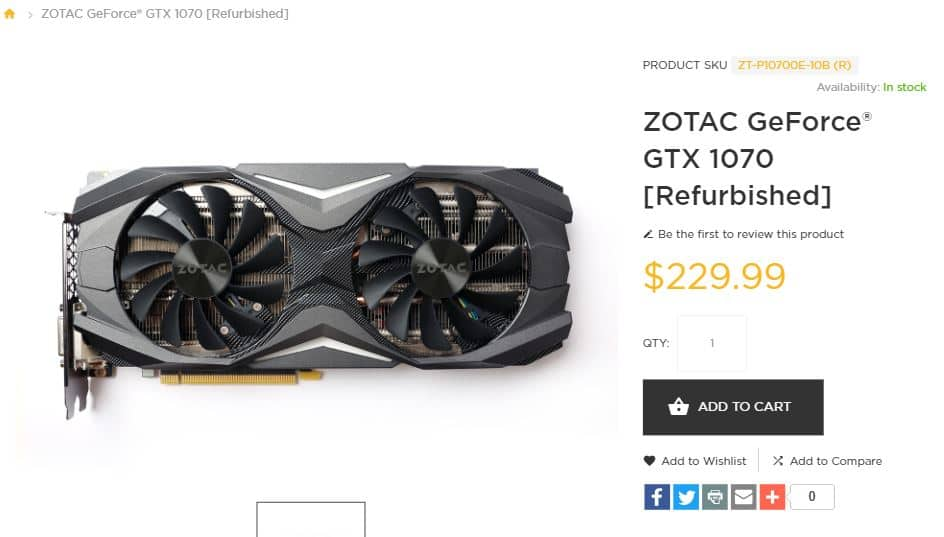 Refurbished Zotac GTX 1070 - $229.99