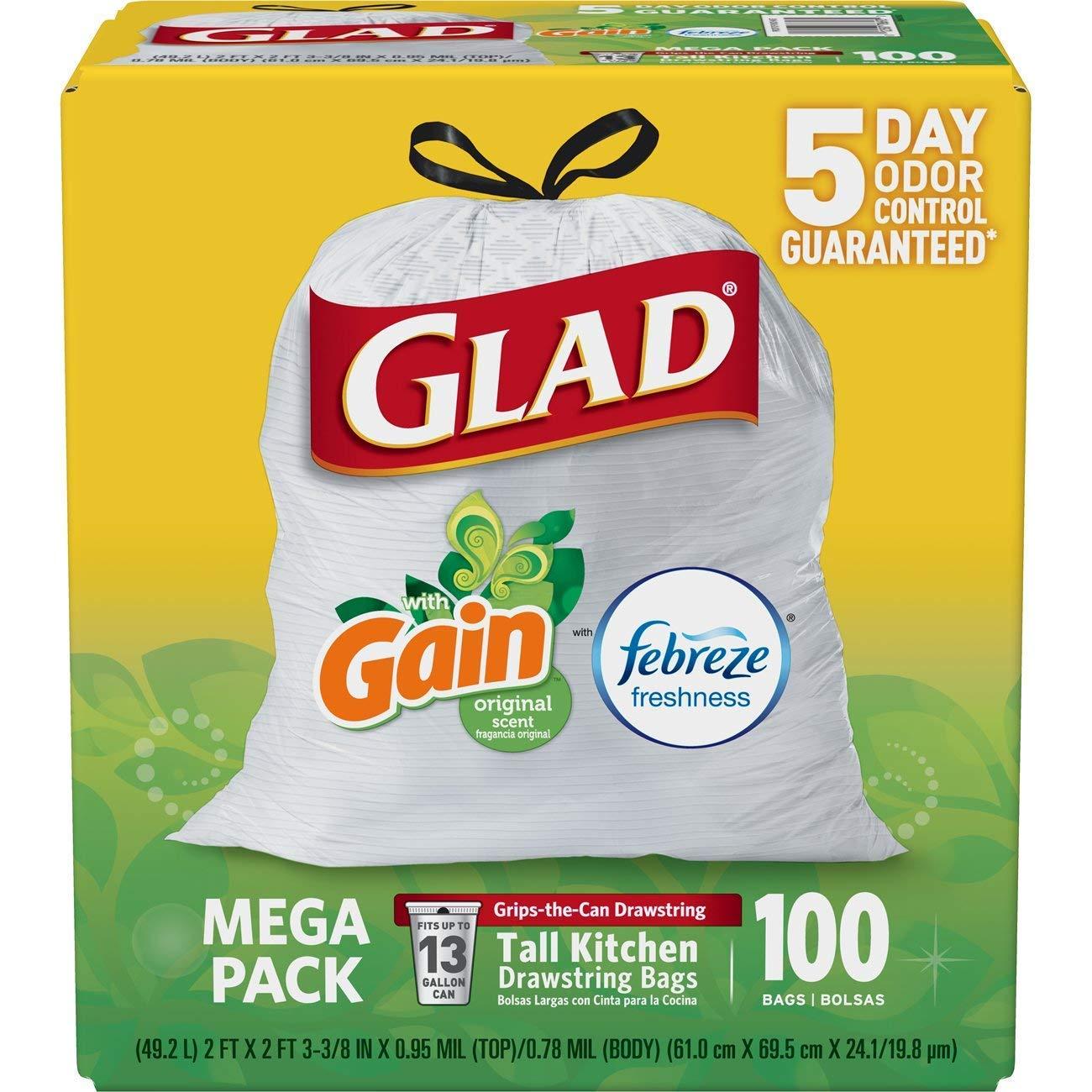 100ct Glad OdorShield Tall Kitchen Drawstring 13 Gallon Trash Bags $11.69