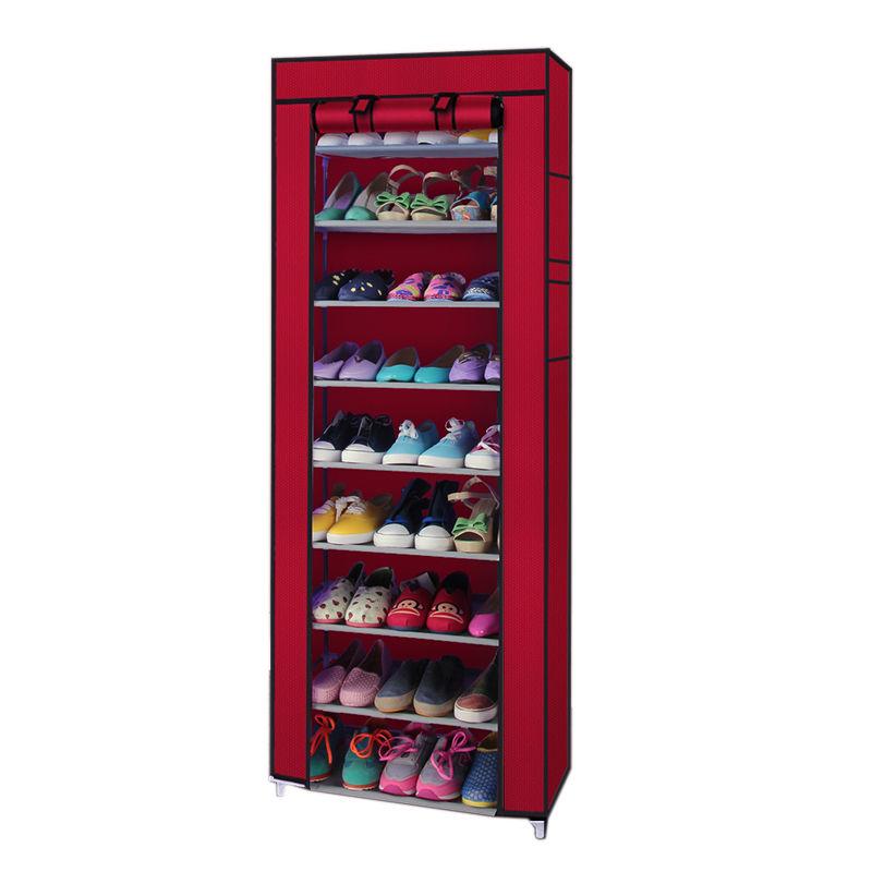 10 Tiers 9 Lattices Shoe Rack Shelf Storage Closet Organizer Cabinet With Cover $15