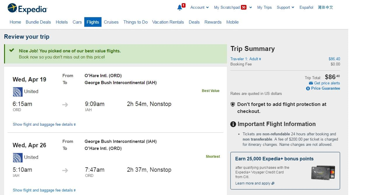 Chicago to Houston $86 RT on United Airlines (ltd travel April-May) Nonstop