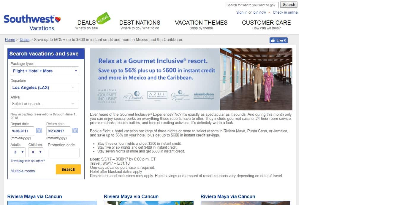 Southwest Vacations - Save up to 56% + up to $600 instant credit Vacations to Riviera Maya, Punta Cana or Jamaica