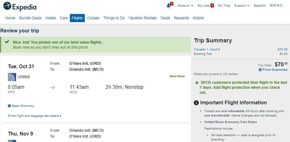 Chicago to Orlando or Vice Versa $70 RT Nonstop on United Airlines (BE) (limited Oct Travel)