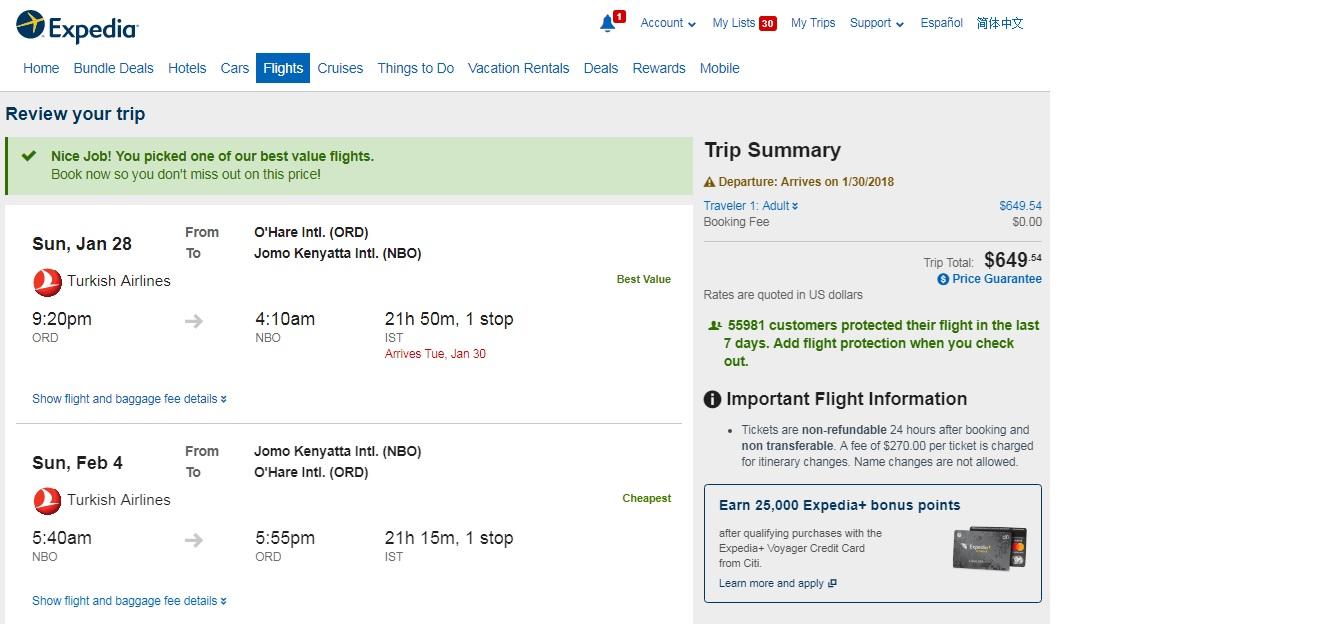 Chicago to Nairobi Kenya $654 RT on Turkish or KLM Airlines (travel Jan-May 2018) $650