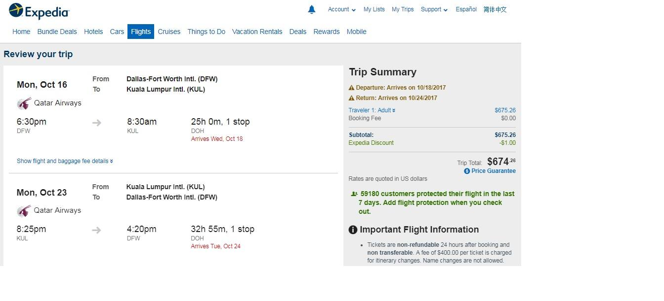 Dallas to Kuala Lumpur Malaysia $674 RT Airfare on Qatar Airways (travel Oct-Nov)