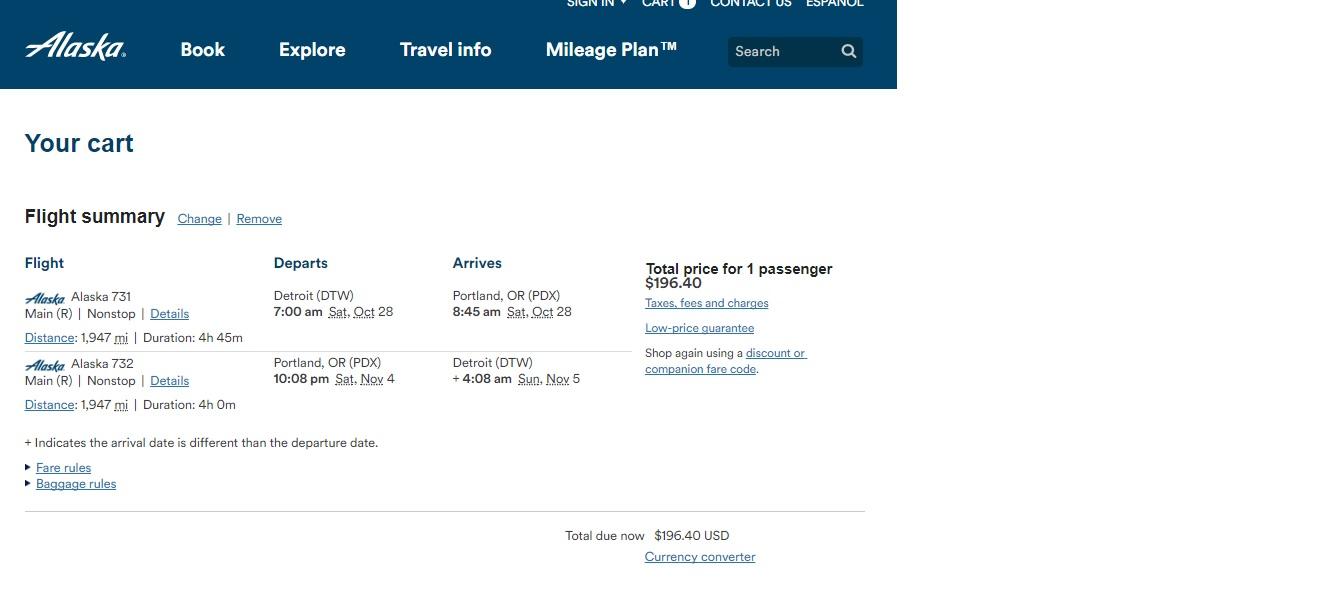 Portland to Detroit or Vice Versa $196 Nonstop RT on Alaska Air (Travel Oct-Nov)