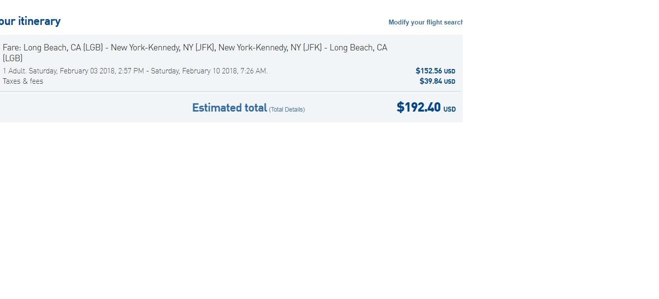 New York to Long Beach CA or Vice Versa $192 RT on JetBlue (travel Nov-Feb 2018)