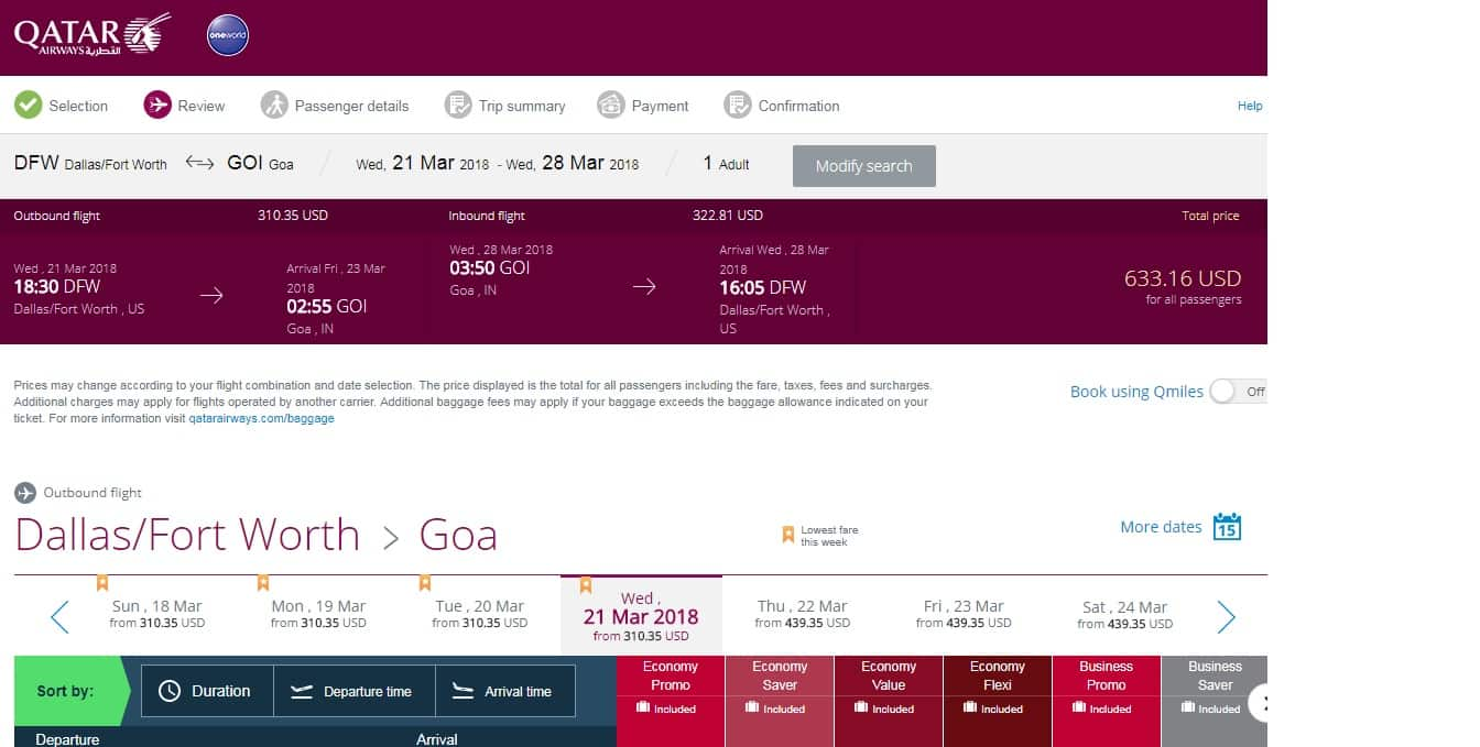 Dallas to Goa India $632 RT on Qatar Airways (travel March-May 2018)