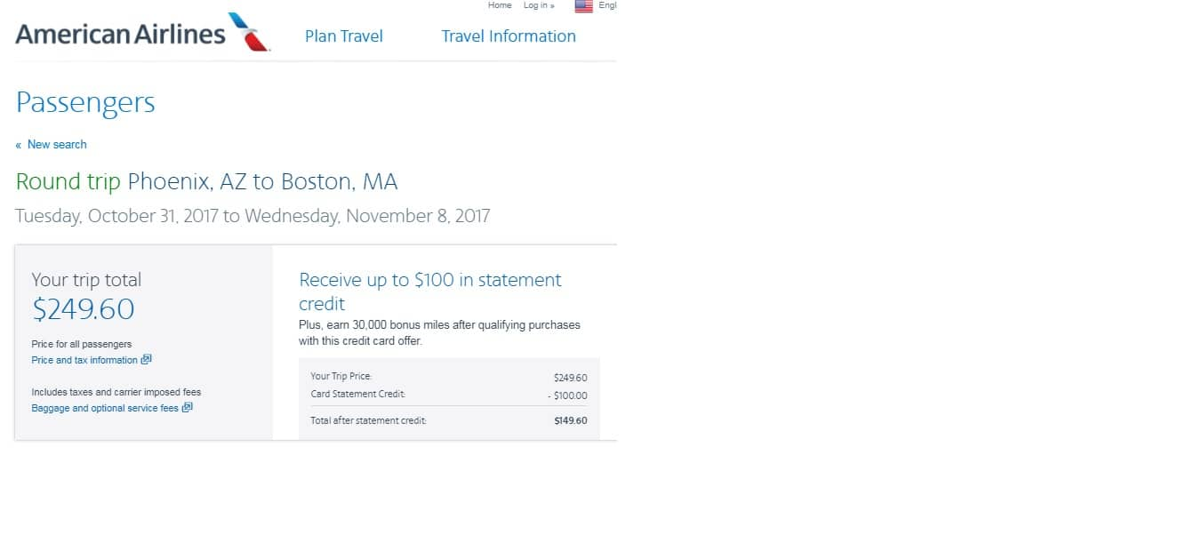 Phoenix to Boston or Vice Versa $250 RT on American Airlines (limited travel)