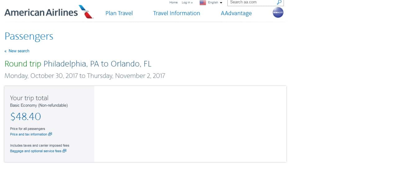 Philadelphia to Orlando or Vice Versa $48 RT Nonstop on American Airlines (BE) (Very Limited Oct Dates)