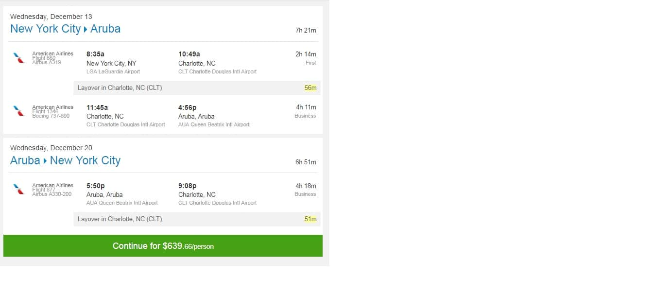 New York to Aruba RT BUSINESS CLASS Airfare from $629 on JetBlue or $640 on AA