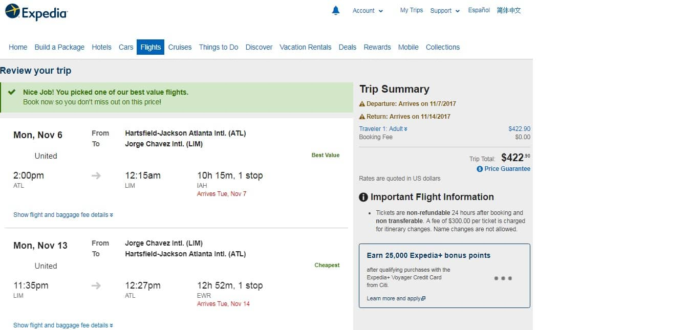 Atlanta to Lima Peru $423 RT on United Airlines (travel Oct-Dec)
