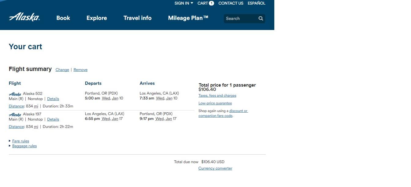 Portland to Los Angeles or Vice Versa $106 RT Nonstop on Alaska Airlines (travel Jan-Feb 2018)