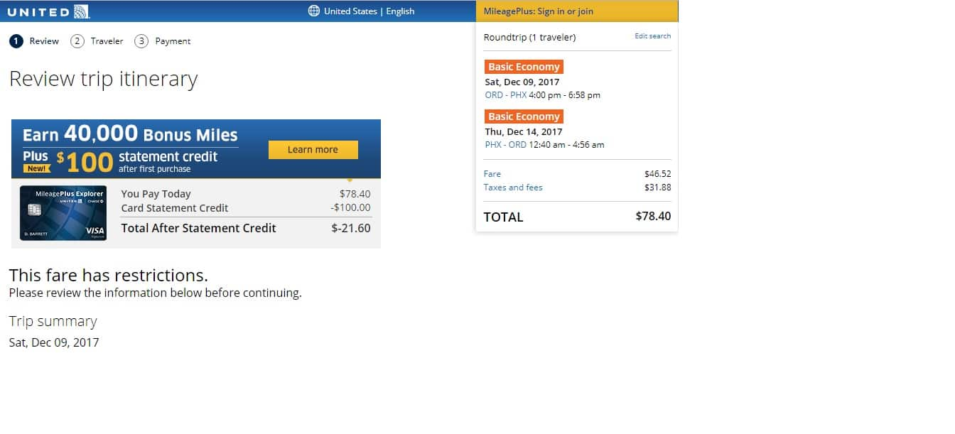 Phoenix to Chicago or Vice Versa $78 on United Airlines (BE) (very limited Nov-Jan 2018)